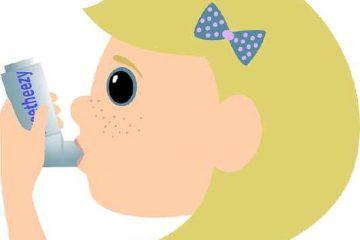 Caricatura de niña con asma