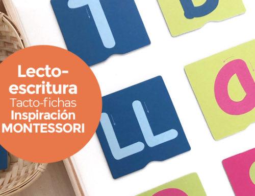 Lectoescritura Montessori : tacto fichas de letras, números, signos de puntuación y trazos